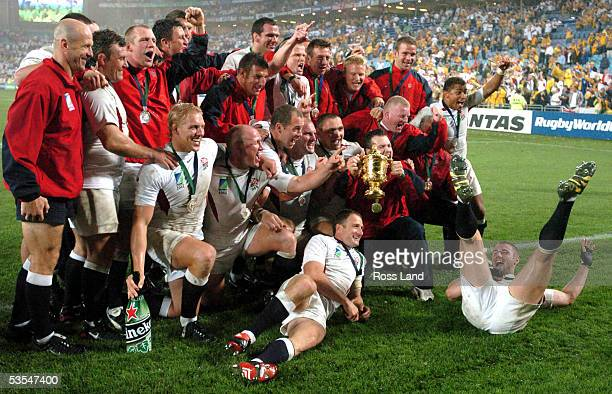 The England team celebrate with the trophy after their 2017 win over Australia in extra time in the Rugby World Cup 2003 final at the Sydney Olympic...