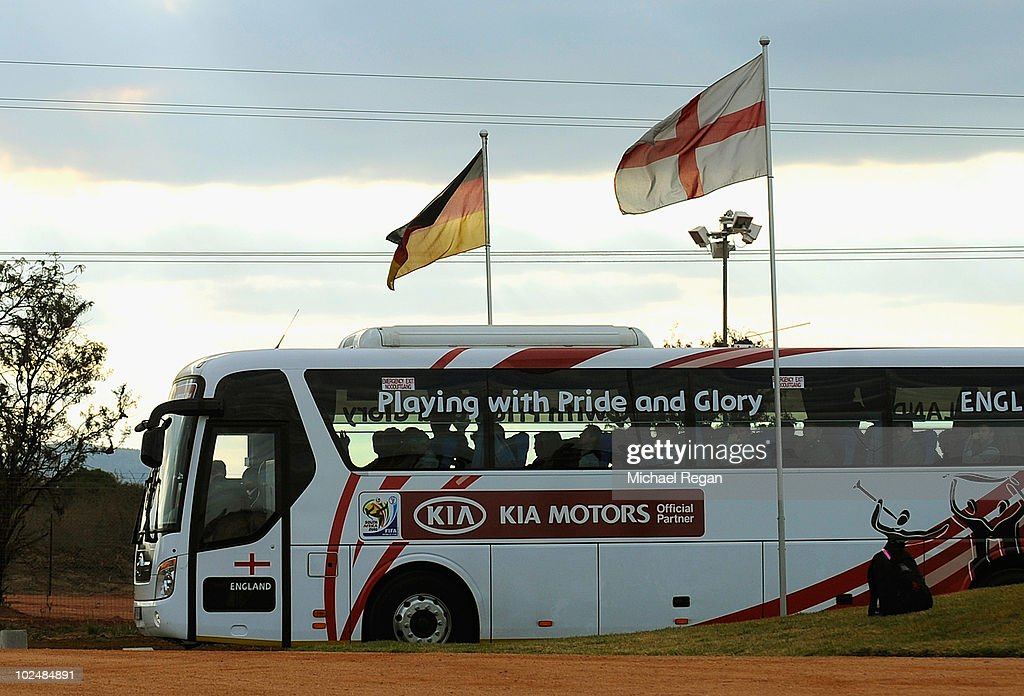 The England team coach leaves for the airport at the Royal Bafokeng Sports Campus on June 28 2010 in Rustenburg South Africa