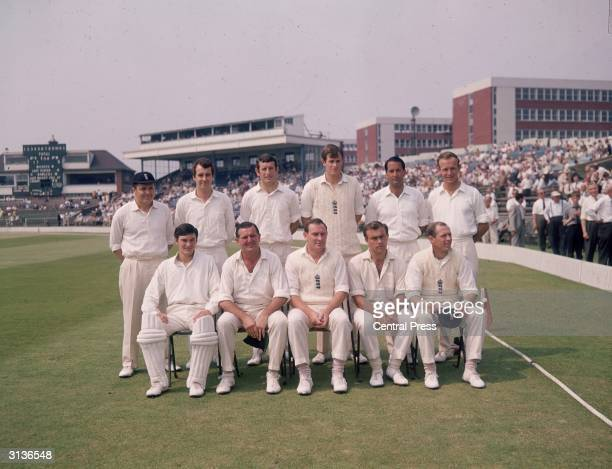 The England team for the first test against the West Indies at Old Trafford including Alan Knott Tom Graveney Ray Illingworth and Geoffrey Boycott...
