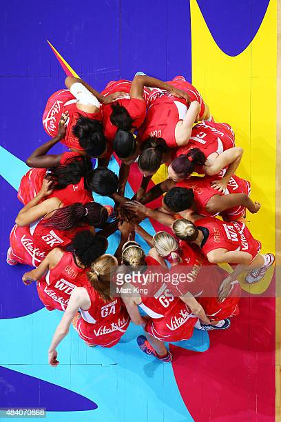 the England team form a huddle during the 2015 Netball World Cup Semi Final 1 match between New Zealand and England at Allphones Arena on August 15...