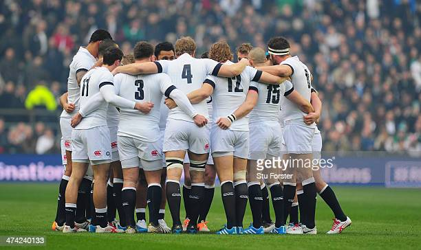 The England team form a huddle during the RBS Six Nations match between England and Ireland at Twickenham Stadium on February 22 2014 in London...