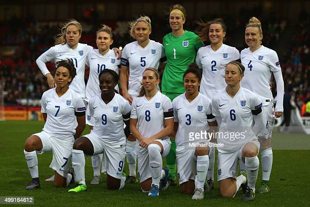 The England team group during the UEFA Women's Euro 2017 Qualifier match between England and Bosnia and Herzegovina at Ashton Gate on November 29...
