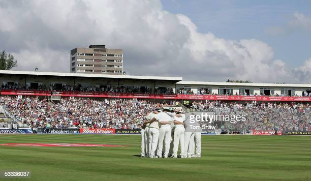 The England team huddles together before the start of play on day four of the Second npower Ashes Test match between England and Australia at...