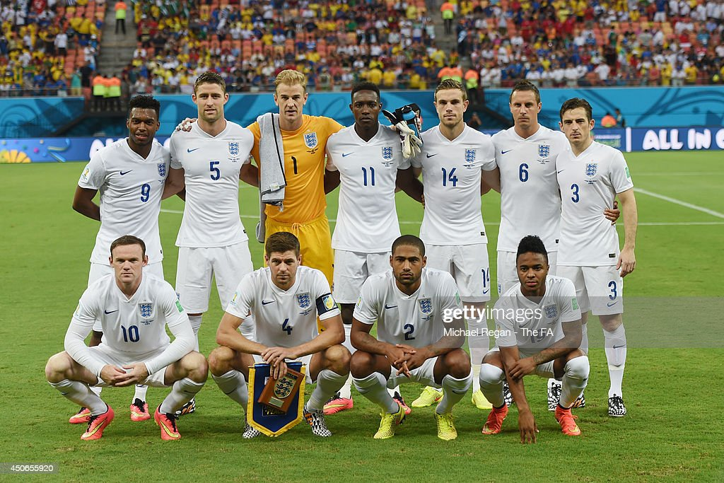 the England team line up ahead of the 2014 FIFA World Cup Brazil Group D match between England and Italy at Arena Amazonia on June 14, 2014 in Manaus, Brazil.