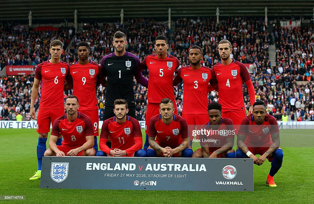 The England team line up ahead of the International Friendly match between England and Australia at Stadium of Light on May 27, 2016 in Sunderland, England.