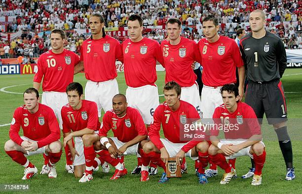 The England team line up before the FIFA World Cup Germany 2006 Group B match between Sweden and England at the Stadium Cologne on June 20 2006 in...