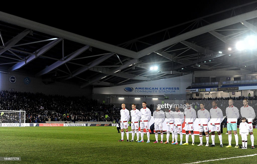 The England team line up before the International match between England U21 and Austria U21 at The Amex Stadium on March 25, 2013 in Brighton, England.
