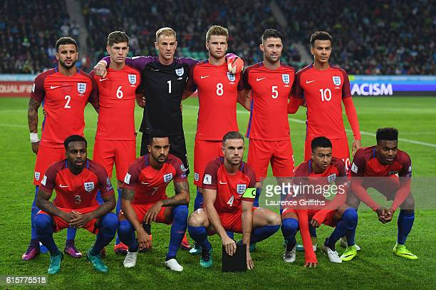 The England Team line up during the FIFA 2018 World Cup Qualifier between Slovenia and England at Stadion Stozice on October 11 2016 in Ljubljana