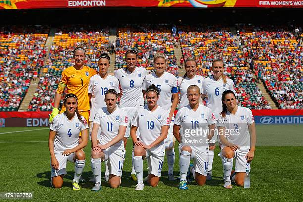 The England team line up during the FIFA Women's World Cup Semi Final match between Japan and England at the Commonwealth Stadium on July 1 2015 in...