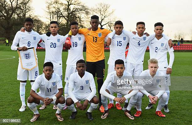 The England Team line up during the International Friendly match between England U15 and Turkey U15 at St George's Park on December 21 2015 in...