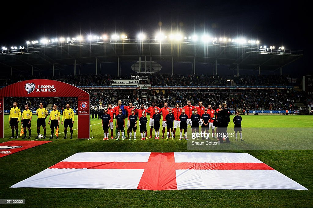 The England team line up for the national anthem prior to kickoff during the EURO 2016 Qualifier match between Estonia and England at A. Le Coq Arena on October 12, 2014 in Tallinn, Estonia.