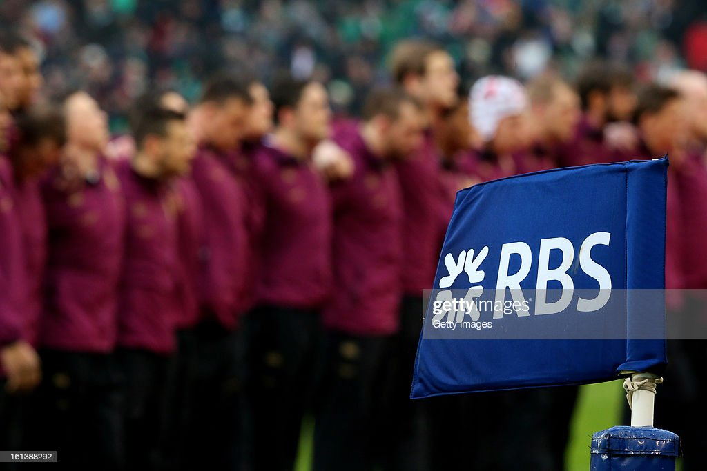 The England team line up for the national anthems prior to kickoff during the RBS Six Nations match between Ireland and England at Aviva Stadium on February 10, 2013 in Dublin, Ireland.