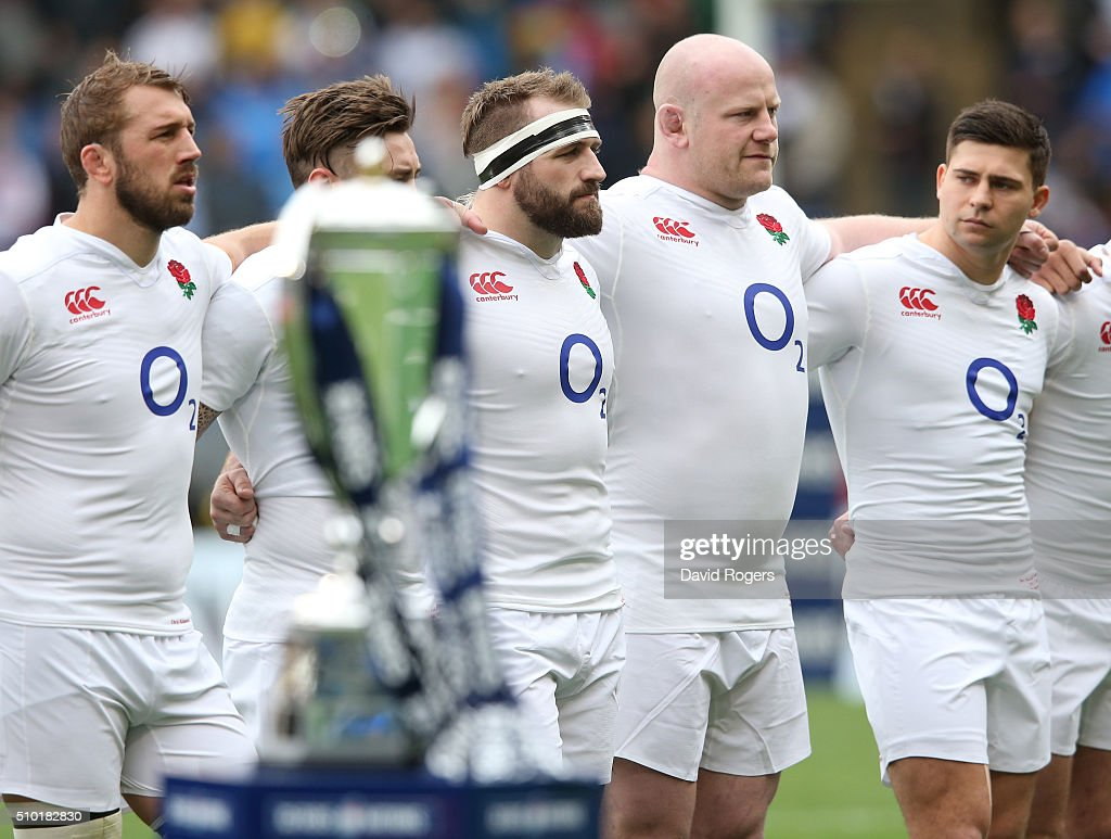 The England team line up for the national anthems prior to kickoff during the RBS Six Nations match between Italy and England at the Stadio Olimpico on February 14, 2016 in Rome, Italy.