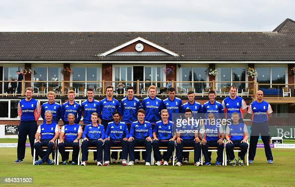 The England team line up prior to the U19 One Day International match between England U19 and Australia U19 at The County Ground on August 17 2015 in...
