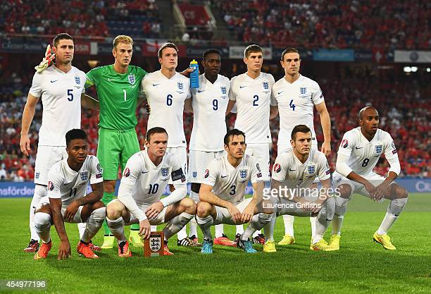 The England team line up prior to the UEFA EURO 2016 Group E qualifying match between Switzerland and England at St JakobPark on September 8 2014 in...