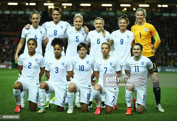 The England team line up prior to the Women's Friendly International match between England and USA at Stadium mk on February 13 2015 in Milton Keynes...