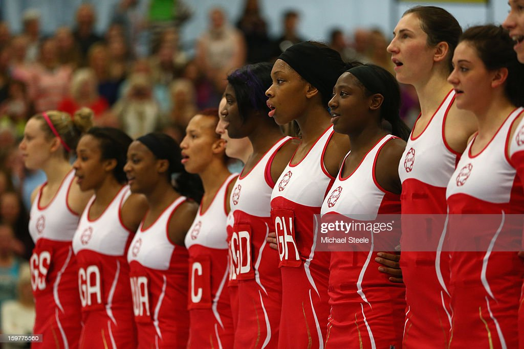 The England team lineup ahead of the England v Australia International Netball Series match at the University of Bath on January 20, 2013 in Bath, England.
