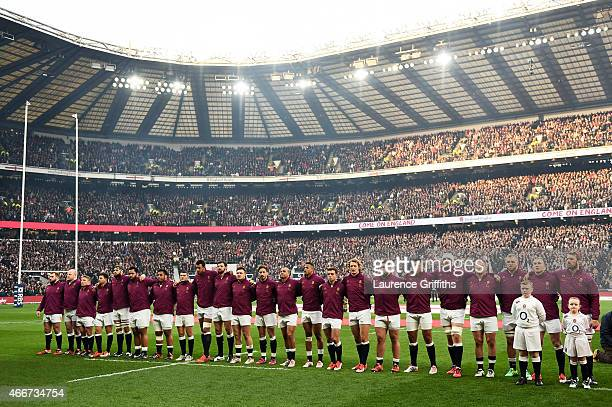 The England team lineup for the national anthem prior to kickoff during the RBS Six Nations match between England and Scotland at Twickenham Stadium...