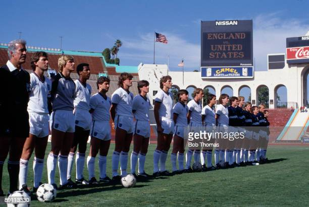 The England team lineup prior to the International friendly match against the United States at the Memorial Coliseum Stadium in Los Angeles June 16th...