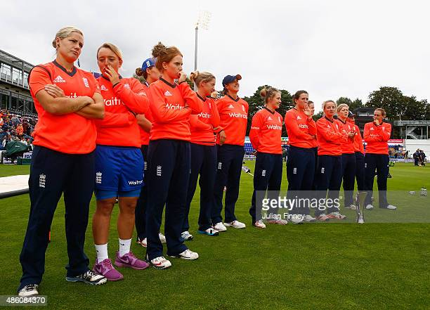 The England team look on after the 3rd NatWest T20 of the Women's Ashes Series between England and Australia Women at SWALEC Stadium on August 31...