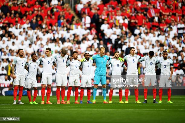 The England team observe a one minute silence to remember those who lost their lives in the recent Westminster terrorist attacks prior to the FIFA...