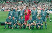 The England team of back row left to right Paul Ince David Platt Steve McManaman David Seaman Gareth Southgate and Alan Shearer Front row left to...