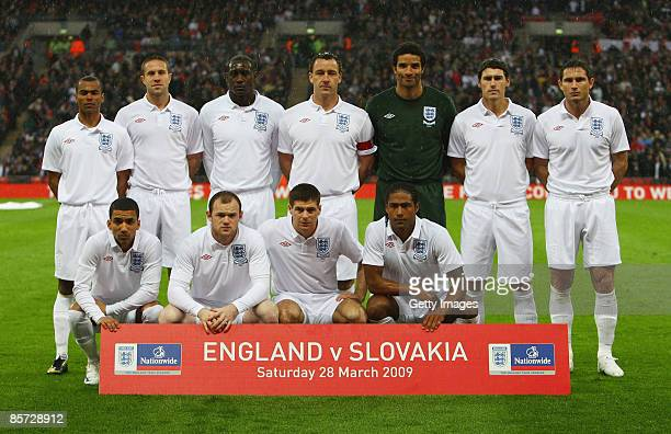 The England team pose ahead of the International Friendly match between England and Slovakia at Wembley Stadium on March 28 2009 in London England