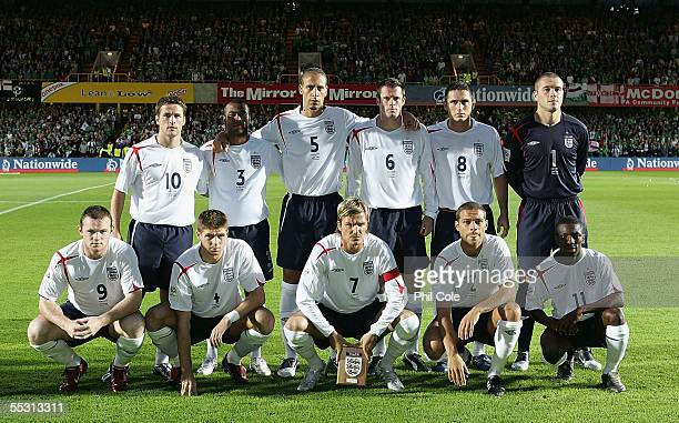 The England team pose before a World Cup Qualifier Group six match in Northern Ireland at Windsor Park on September 7 2005 in Belfast Northern...