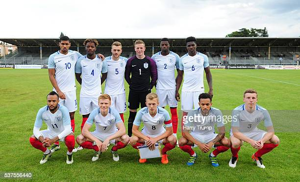 The England team pose during the Final of the Toulon Tournament between England and France at Parc Des Sports on May 29 2016 in Avignon France