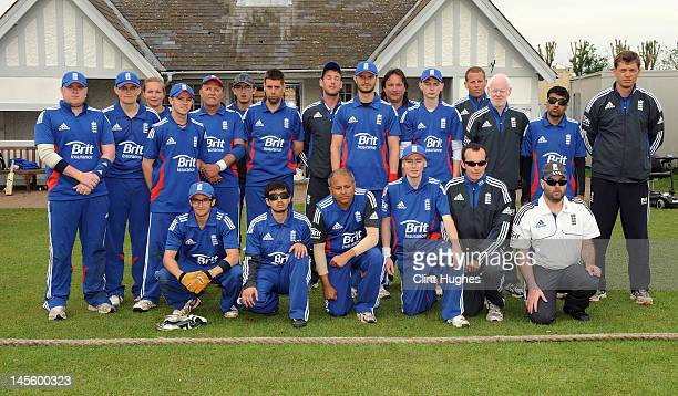 The England team pose for a photo during the 3rd ODI match between England Blind Squad and Australia Blind Squad at Warwick School on June 2 2012 in...