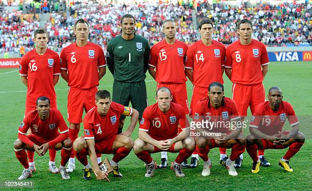 The England team pose for a team group before the start of the 2010 FIFA World Cup South Africa Group C match between Slovenia and England at the...