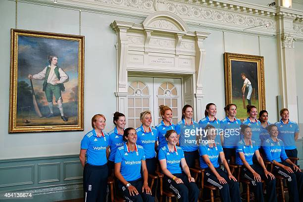The England team pose for a team photograph in the Lord's Long Room during the Women's Royal London ODI match between England and India at Lord's...