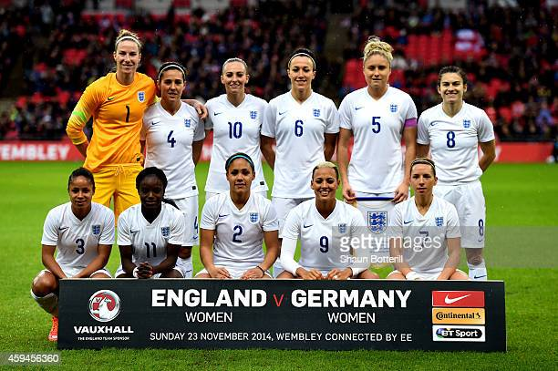 The England team pose for the cameras prior to kickoff during the Women's International Friendly match between England and Germany at Wembley Stadium...
