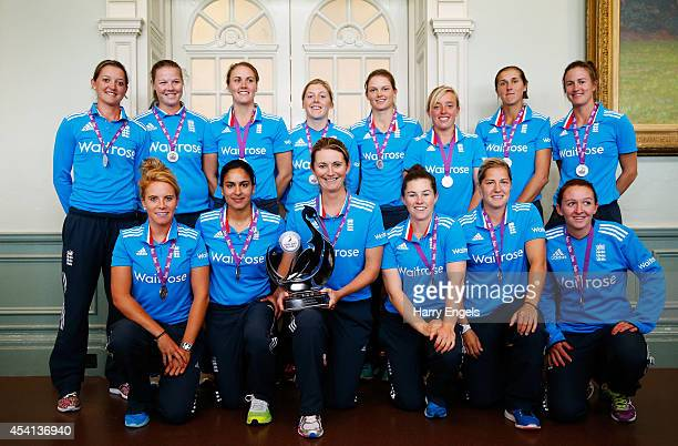 The England team pose with the trophy after England won the series as rain washed out the Women's Royal London ODI match between England and India at...