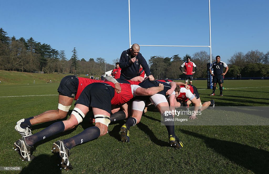 The England team practice their scrummaging during the England training session held at Pennyhill Park on February 19, 2013 in Bagshot, England.