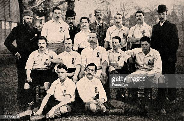 The England team prior to the International match against Scotland at Richmond 1st April 1893 Standing William McGregor Robert Gosling JJBentley...
