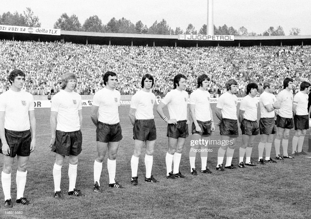 The England team prior to the International match against Yugoslavia in Belgrade 5th June 1974 Leftright Martin Dobson Colin Bell Trevor Brooking...