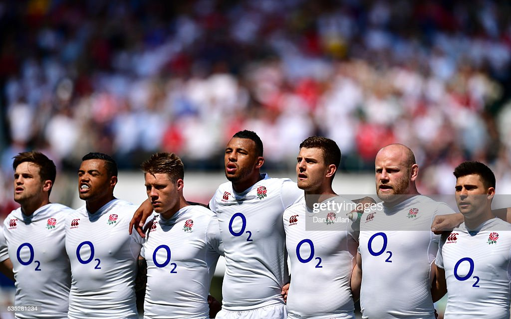 The England team sing the National Anthemprior to the Old Mutual Wealth Cup match between England and Wales at Twickenham Stadium on May 29, 2016 in London, England.