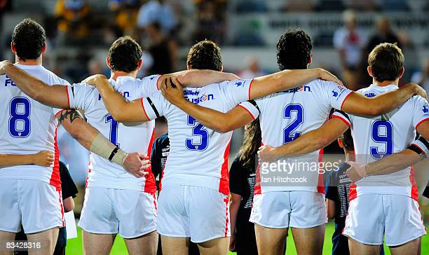 The England team stand together during the national anthem at the beginning of the 2008 Rugby League World Cup Pool 1 match between England and Papua...