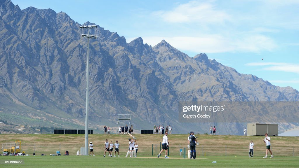 The England team take part in middle practice during an England nets session at Queenstown Events Centre on February 26 2013 in Queenstown New Zealand