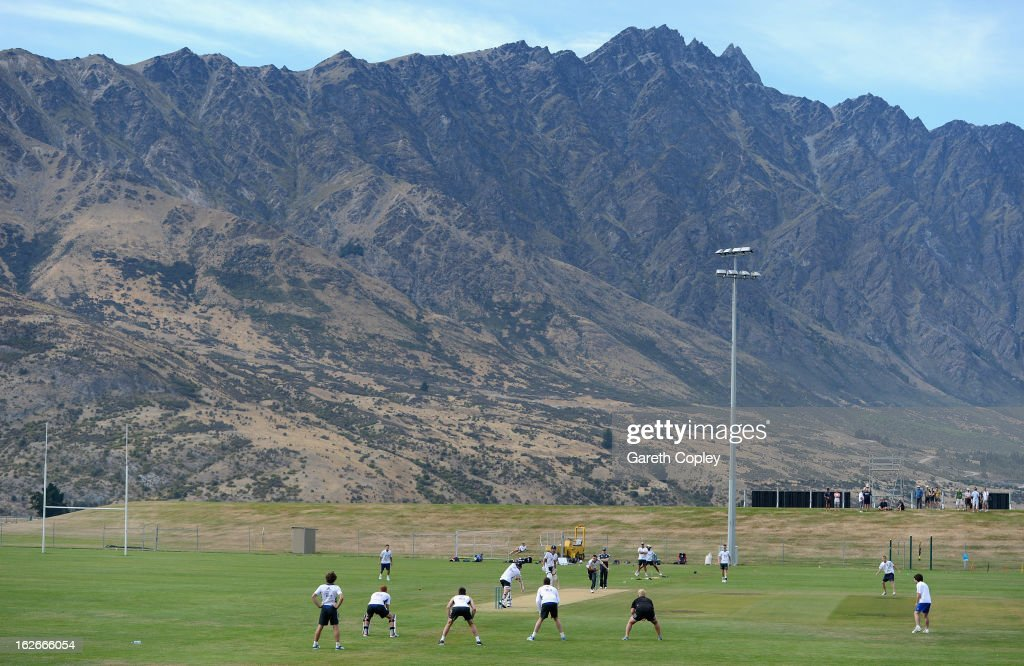The England team take part in middle practice during an England nets session at Queenstown Events Centre on February 26, 2013 in Queenstown, New Zealand.
