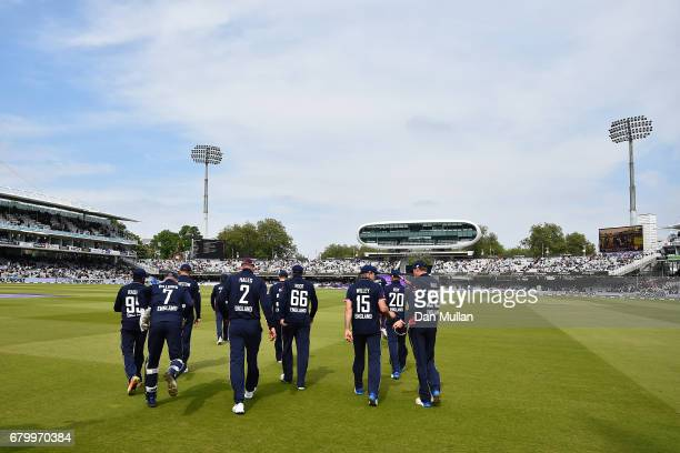 The England team take to the field during the Royal London One Day International between England and Ireland at Lord's Cricket Ground on May 7 2017...