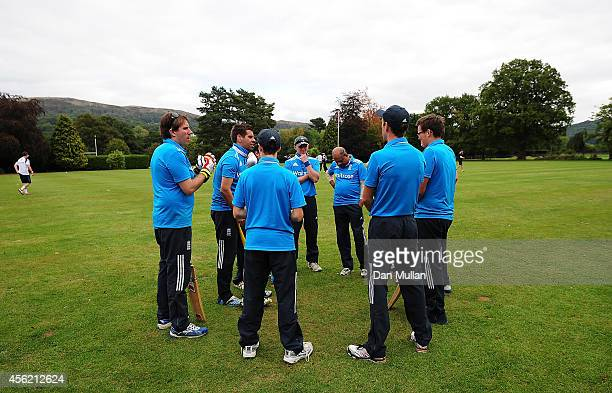 The England team talk during the ECB Blind World Cup Squad Training Camp at The Elms School on September 27 2014 in Great Malvern England