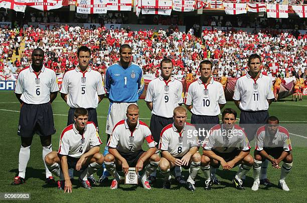 The England team to face Switzerland pose for a group photo before the UEFA Euro 2004 Group B match between England and Switzerland at the Estadio...