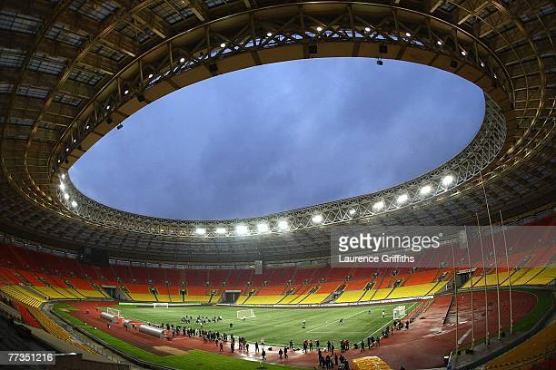 The England Team warm up on the artificial turf during a training session at the Luzhniki Stadium on October 16 2007 in Moscow Russia
