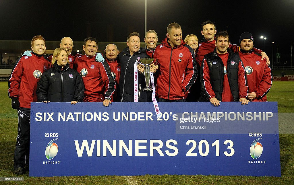 The England U20 coaching staff celebrate with the Six Nations U20 Championship trophy following the match between Wales U20 and England U20 at Eirias Park on March 15, 2013 in Colwyn Bay, Wales.