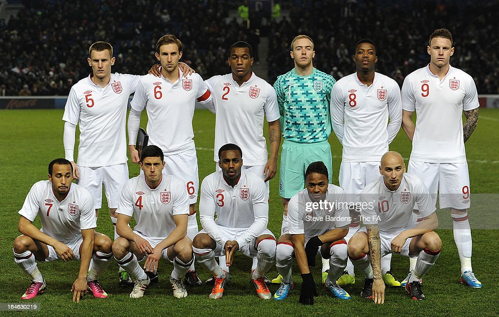 The England U21 team pose for a team photograph before the International match between England U21 and Austria U21 at Amex Stadium on March 25, 2013 in Brighton, England.