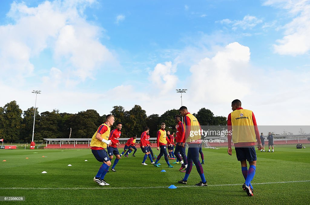 The England U-21 team train at St Georges Park on October 4, 2016 in Burton-upon-Trent, England.