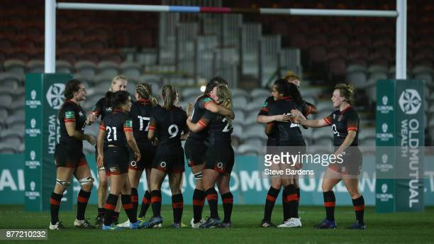 The England Women celebrate after their victory over Canada women after the Old Mutual Wealth Series match between England Women and Canada Women at...