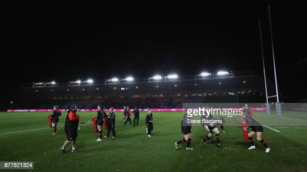 The England Women warm up prior to the Old Mutual Wealth Series match between England Women and Canada Women at Twickenham Stoop on November 21 2017...